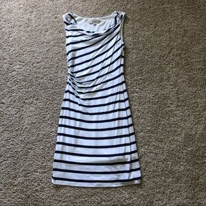 NWT LOFT XS white/navy stripe dress
